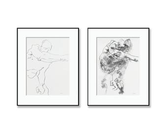 "Pair of Minimal and Expressive Figures - Reaching Figure 1 & 2 - 9 x 12"" charcoal  and graphite on paper - original drawing Derek Overfield"