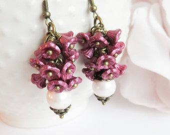 Burgundy cluster earrings, vintage style pearl earrings, maroon jewelry, gift for her, dangle and drop, brass and bronze, romantic jewelry
