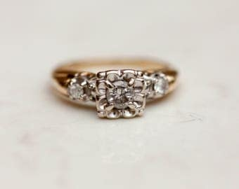 Vintage MidCentury 14k Solid Yellow and White Gold Illusion Setting with Side Accents Diamond Engagement Ring, Size 7