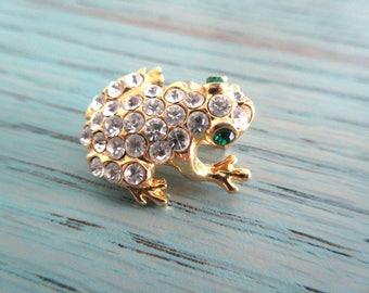 Small Rhinestone Frog Brooch, Green Rhinestone Eyes, Gold Tone Trim, Lapel Pin, Vintage Retro, Reptile pin
