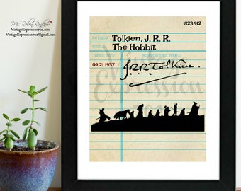 J.R.R Tolkien, The Hobbit, Vintage Library Card Art, Book Art, Silhouette Print