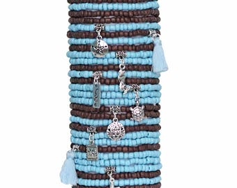 Beaded Bracelets Set of 30 Seed Bead Stretch Bracelets Bohemian Themed Stack with Charms and Tassels Beach Theme