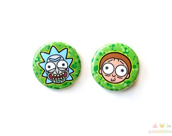 Rick and Morty Heads Button Set/Party Favors