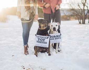 """Pregnancy Announcement for Two Dogs """"Guard Dog Duty"""" + """"Official Toy Tester"""" Baby Banners (Set of 2) Custom Announcements 1879 BB"""