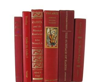 Red  Farmhouse Decor, Book Decor, Vintage Books,  Gift,  Books Lover,  Book Home Decor,  Wedding Decor, Used Books,Decorative Books,