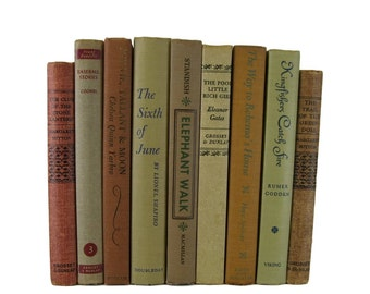 Farmhouse Decor, Earth Tone Brown  Vintage  Books , Vintage Wedding Decor,  decorative books , old books , vintage book bundles
