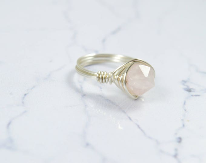 Rose Quartz Ring, Crystal Ring, Sterling Silver Ring, White Crystal Ring, Natural Ring, Organic Ring