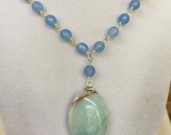 Agate Oval Gemstone and Blue Jade Bead Necklace