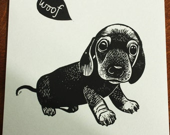 Sausage Dog puppy, original linocut print, Signed Open Edition, Free Postage in UK, Hand Pulled, block print, Printmaking,