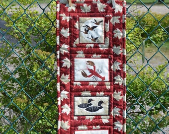 Oh Canada Wall hanging, Red Art Quilt, Geese, Lobster, Loon, Beaver, Canadian Art, Canadian Souvenir