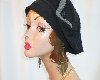 Oversize Repurposed Black Cotton Beret