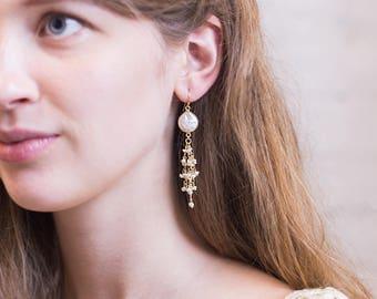 Freshwater Pearl Tassel Earrings, Gold Coin Pearl Earrings, Wire Wrapped Earrings, Pearl Gift, Boho Pearl Earrings, Beach Jewelry, Dangle