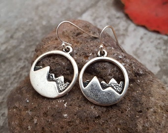 Silver Mountain Earrings, Mountain Earrings, Antique Silver Mountain Charm Jewelry, jingsbeadingworld inspired by nature, Gift for her