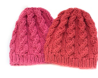 Hand-knit Cabled Baby Hat
