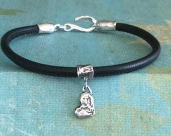 Leather Bracelet Artisan Sterling Silver Peace Heart Charm Chic Bohemian Jewelry Free Shipping