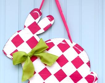 Ready To Ship -Bunny Wreath - Bunny Door Hanging - Easter Wreath