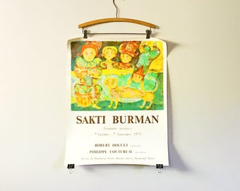Rare Vintage 1970 Sakti Burman Art Exhibition / Exhibit Poster Galerie Robert Doucet