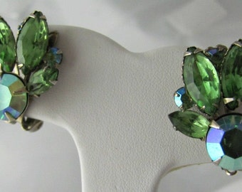 Vintage Green and Aurora Borealis Rhinestone Earrings, Spectacular