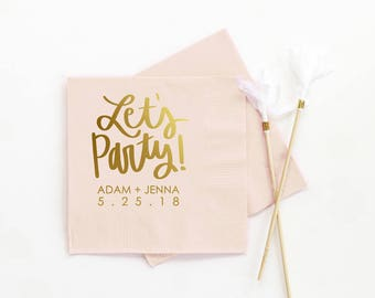 Wedding Bar Napkins Personalized For Cocktail Engagement Party Lets Custom