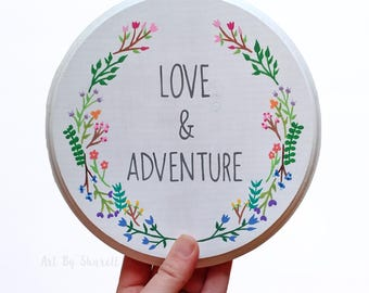 Love & adventure sign, floral wood sign, white love sign, adventure sign, wood wall art, wedding sign, nursery wood art