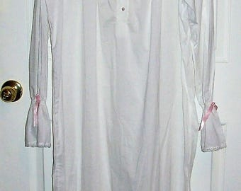 Vintage Ladies White Cotton Nightgown w/ Pink Satin Ribbon Trim by The Vermont Country Store Medium Only 18 USD