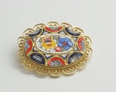 1960's Vintage Colorful Mini Micro Mosaic Tile Brooch Golden Rope Frame Mid Century Costume Jewelry Brooch Pin Gift For Her