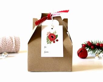 Christmas Gift Tags - (Set of 10) - Christmas Tags, Gift Tags, Holiday Gift Tags, Xmas Tags, Christmas Wrapping, Floral Tags, Present Tags