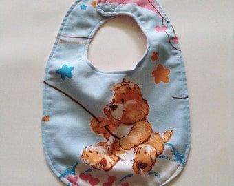Funshine Bib - Care Bears Baby Bib - Care Bears Funshine Bib - Funshine Vintage Sheets Bib - CareBears Funshine Bear Bib - Upcycled Funshine