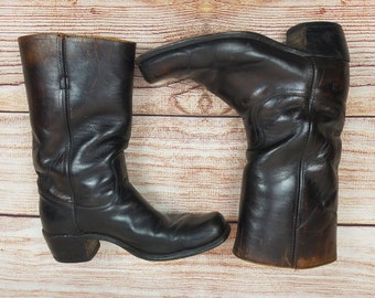 Vintage 70s FRYE Weathered Boots Mens Dark Brown Leather 11 Black Label