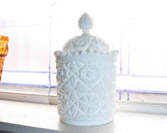 Milk Glass Biscuit Jar Cookie Jar Ice Bucket Vintage 1960s Hobstar