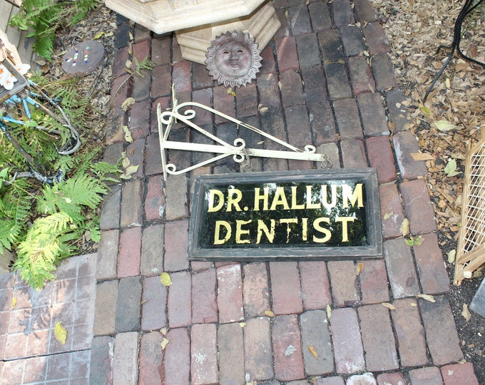 Antique Dentist Trade Sign with Wrought Iron Bracket Holder 1800s