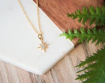 Delicate gold star charm choker necklace | Wanderlust | Gold plated celestial necklace | Gifts for her under 20 | North Star Cubic Zirconia|