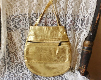 Small Gold Patent Leather Purse, Shiny Gold Evening Bag with Long Strap