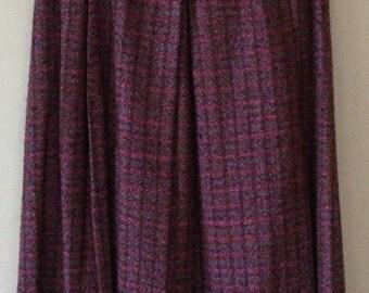 Vintage Celine skirt in dark pink and purple wool.