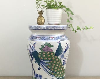 Vintage Garden Stool Peacock Bench End Table Blue White Porcelain Chinoiserie Palm Beach Chic