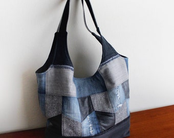 Denim Patchwork Tote Bag with Upcycled Jeans and Belt - Handmade Unique - Ready to Ship