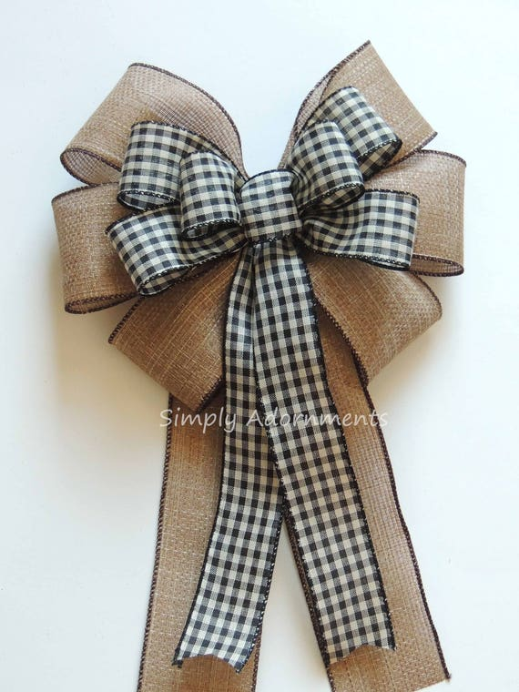 Vintage Black Check Wreath Bow Woodland Christmas Bow Rustic Burlap Black Check Christmas Bow Black Cream Christmas Swag Bow Rustic Gift Bow