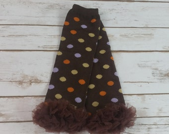 Thanksgiving Leg Warmers, Brown Leg Warmers with Polka Dots and a Brown Ruffle, Infant - Adult