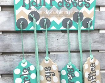 Hall Passes Sign for Classroom Classroom Decor, Teacher Gift, Teacher Sign, Bathroom Pass, Teacher Name Sign (Seabreeze, Fawn)