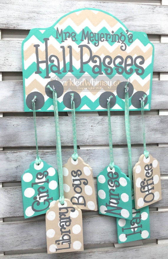 Classroom Decor Etsy ~ Hall passes sign for classroom decor teacher gift