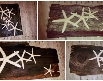 Reclaimed Wood with Starfish Coastal Beach Wall Art