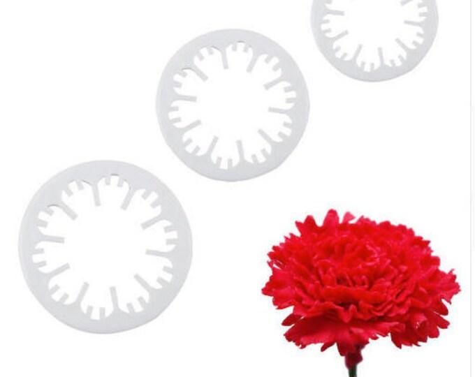 3 pc Carnation Cookie Cutter Set - C-1212 - Party Biscuit Fondant Sugar Cutter Flower Garden