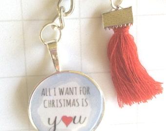 Christmas Key Holder, xmas keyring, christmas planner accessory,  handmade keyring, festive gift idea, personalised keyring, christmasgift,