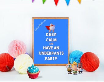 "CAPTAIN UNDERPANTS PARTY 8x10"" Printable Children Home Decor Wall Art Print Keep Calm Movie Birthday Party Instant Download"