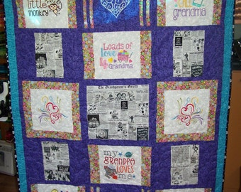 "Grandparents Quilt with Special Newspaper Fabric 48.5"" by 62"""