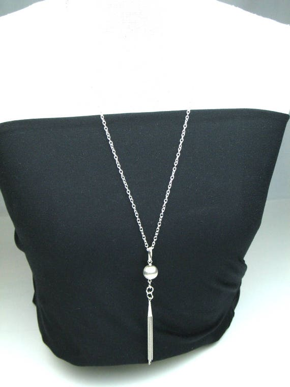 Flapper Chain Necklace in Silver with Brushed Sterling Silver Accent Bead and Silver Plated Chain Tassel, Boho Jewelry