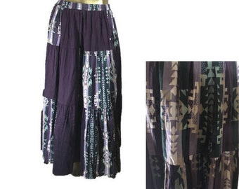 Vintage 80s Roughrider Circle T Purple Southwest Maxi Prairie Skirt