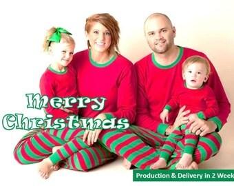 Christmas Pajamas, Christmas pajamas, Red & Green Christmas PJ's. Embroidered and Comfy Matching Family Christmas Pajamas.  Christmas Gifts.