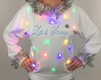 SALE Let it Snow Women's Ugly Christmas Sweater, Holiday Sweater with Lights, Snowflake Garland Sweater