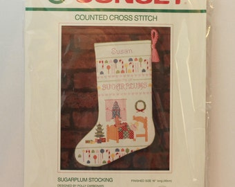 "Sunset Counted cross stitch Stocking Kit 16"" Sugarplum Stocking #18302 Vintage 1989 Repackaged"